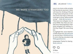 ADL Instagram post for the #RefugeesWelcome campaign #WeWereStrangersToo
