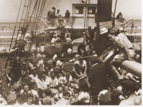 Jewish displaced persons on board the Dov Hoz at La Spezia, Italy, awaiting permission to sail to Palestine in 1946.