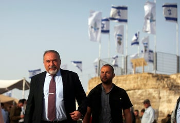 Israeli Defense Minister Avigdor Lieberman arrives to attend a ceremony, in Nabi Samuel, in the West Bank, May 1, 2018.