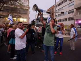 Demonstrating blocking a road in Tel Aviv fallowing the arrest of an anti-Netanyahu protester, May 5, 2018.