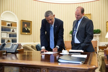 Obama with Ben Rhodes, Deputy National Security Adviser for Strategic Communications, in the Oval Office, September 10, 2014.