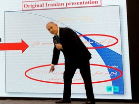 Prime Minister Benjamin Netanyahu presents material on Iranian nuclear weapons development during a press conference in Tel Aviv, April 30 2018.