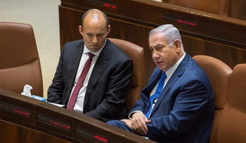Prime Minister Benjamin Netanyahu and Habayit Hayehudi head and Education Minister Naftali Bennett in the Knesset, Jerusalem, March 12, 2018.