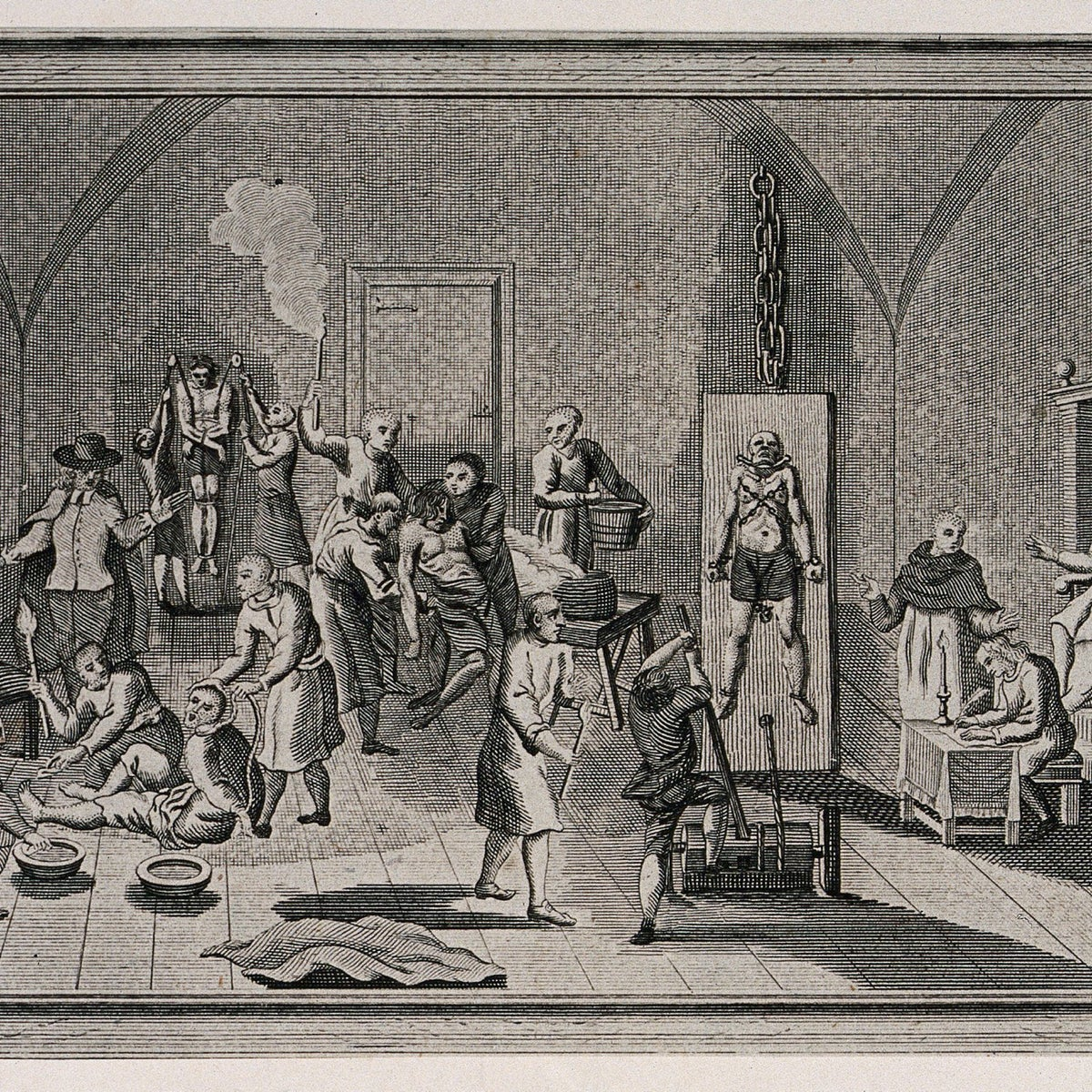 The inside of a jail of the Spanish Inquisition, with a priest supervising his scribe while men and women are suspended from pulleys, tortured on the rack or burnt with torches. Etching.