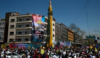 A Ghadr H surface-to-surface ballistic missile is displayed by Iran's Revolutionary Guard in an annual pro-Palestinian rally marking Al-Quds (Jerusalem) Day, in Tehran, Iran. June 23, 2017