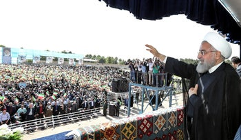 President Hassan Rouhani addressing crowds during a rally in the northwestern city of Sabzevar, May 6, 2018