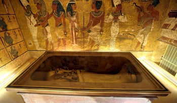 The golden sarcophagus of King Tutankhamun in his burial chamber is seen in the Valley of the Kings, in Luxor, Egypt, November 28, 2015