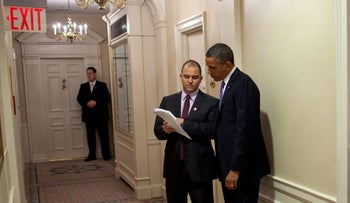 Then-President Barack Obama discussing his speech to the UN General Assembly with Ben Rhodes in New York, September 2011.