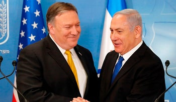 US Secretary of State Mike Pompeo is greeted by Israeli Prime Minister Benjamin Netanyahu ahead of a press conference at the Ministry of Defence in Tel Aviv on April 29, 2018