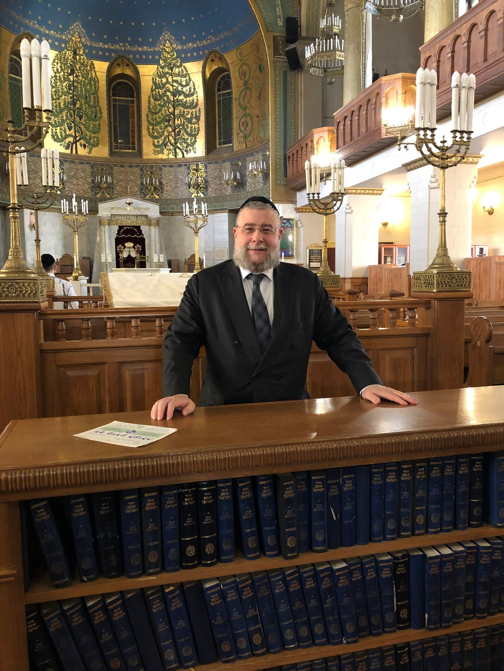 Pinchas Goldschmidt, chief rabbi of Moscow, posing in the main sanctuary of the Choral Synagogue in Moscow, March 2018.