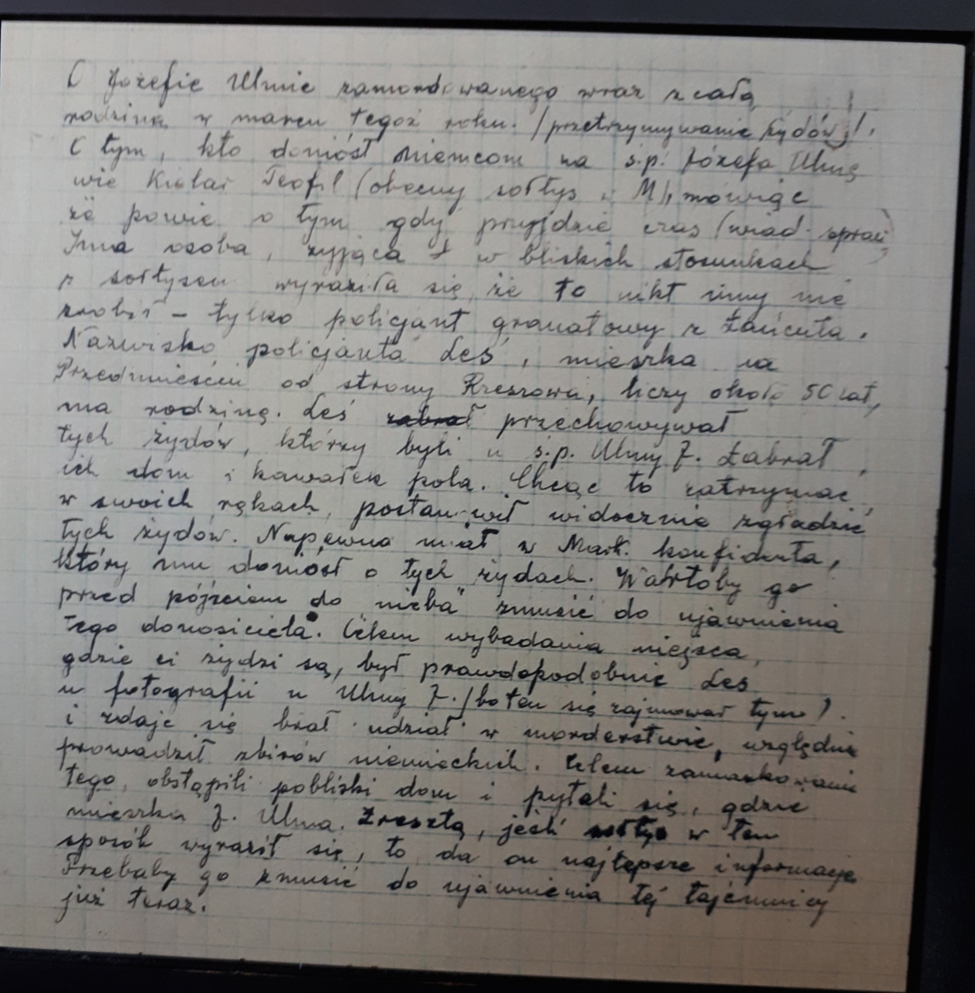 The written testimony by the mayor of Markowa, accusing a local policeman of tipping off the Nazis about the Ulma family sheltering nine Jews during World War II.