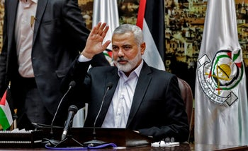 Hamas leader Ismail Haniyeh delivers a speech in Gaza City on April 30, 2018.
