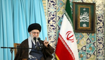 Iran's Supreme Leader Ayatollah Ali Khamenei gestures as he delivers a speech in Mashad, Iran, March 21, 2018.
