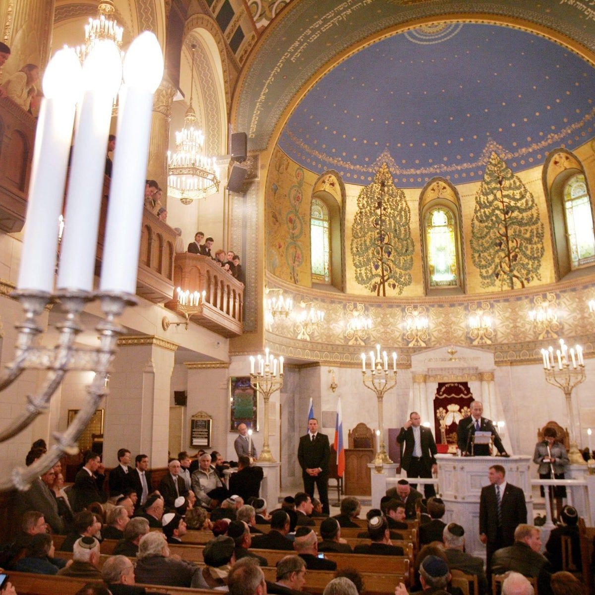 Israel's then-Prime Minister Ehud Olmert speaking during a ceremony to mark the 100th anniversary of Moscow's Choral Synagogue, October 2006.