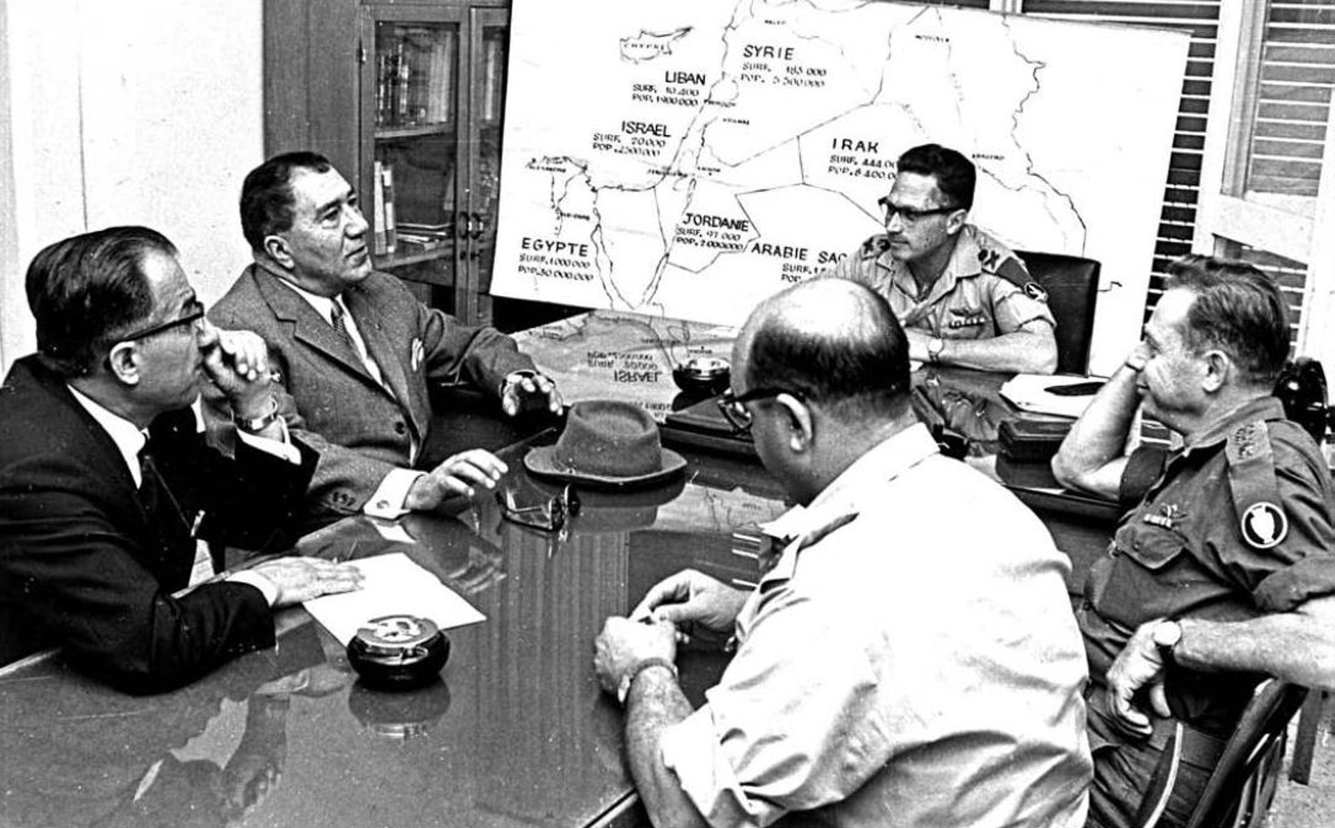 Senior Iranian defense officials with Israeli counterparts at the IDF headquarters, 1975