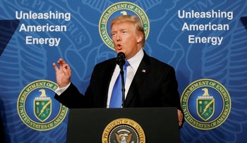 FILE PHOTO: U.S. President Donald Trump delivers remarks during an 'Unleashing American Energy' event at the Department of Energy in Washington, June 29, 2017.