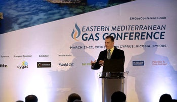 Cyprus' Energy, Commerce, Industry and Tourism minister Yiorgos Lakkotrypis talks during the Eastern Mediterranean gas conference in capital Nicosia, Cyprus, on Wednesday, March 21, 2018.