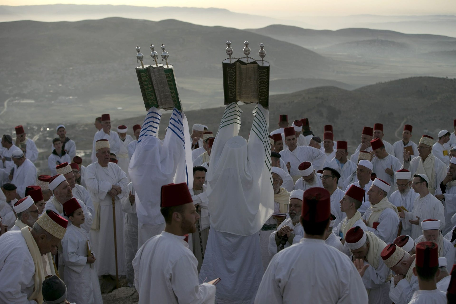 Samaritan worshippers praying during a Passover ceremony on Mount Gerizim, near the West Bank city of Nablus, May 6, 2018.