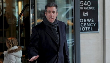 U.S. President Donald Trump's personal lawyer Michael Cohen exits a hotel in New York City, U.S., April 15, 2018
