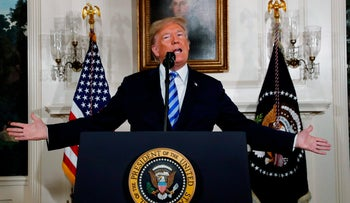 U.S. President Donald Trump after declaring his intention to withdraw from the JCPOA Iran nuclear agreement in Washington, U.S. May 8, 2018.