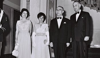 President Lyndon Johnson, far right, with Israeli Prime Minister Levi Eshkol and their wives, Lady Bird Johnson on far left and Miriam Eshkol