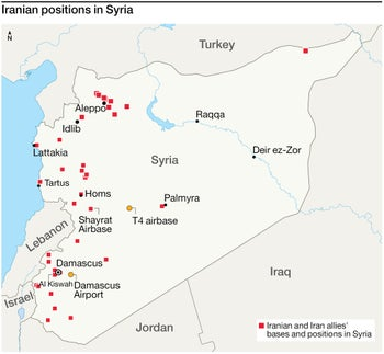 Map of targets of Israeli strike in Syria