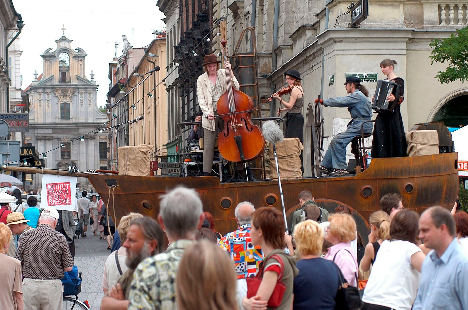 French Klezmer band Beliashe performing in Krakow during the city's Jewish Culture Festival. Over the years, more and more performers have come from Israel.