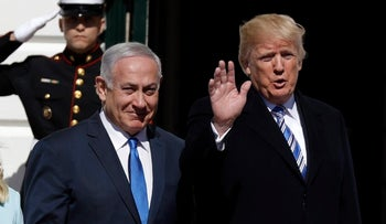 U.S. President Donald Trump and Prime Minister Benjamin Netanyahu arrive at the White House, March 5, 2018.