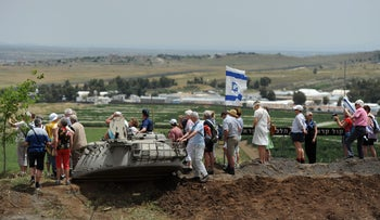 Tourists in the Golan Heights on May 10, 2018.