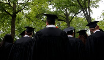Graduating students line up for the 366th Commencement Exercises at Harvard University in Cambridge, Massachusetts, U.S., May 25, 2017