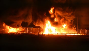 Gas pipeline set on fire at Kerem Shalom crossing, May 11, 2018.
