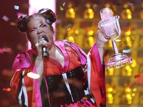 Netta from Israel celebrates after winning the Eurovision song contest in Lisbon, Portugal, Saturday, May 12, 2018 during the Eurovision Song Contest grand final.