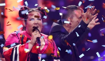 Israel's Netta performing after winning the Grand Final of Eurovision Song Contest 2018 at the Altice Arena hall in Lisbon, May 12, 2018