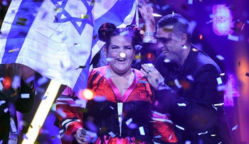 Netta Barzilai aka Netta performs after winning the final of the 63rd edition of the Eurovision Song Contest 2018 at the Altice Arena in Lisbon, on May 12, 2018.