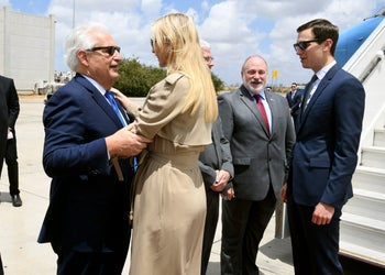 U.S. Ambassador to Israel David Friedman greeting Ivanka Trump and Jared Kushner at Ben-Gurion International Airport, May 13, 2018.