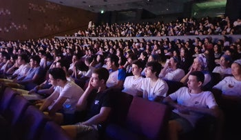 Students at the event in Kfar Sava on May 13, 2018.
