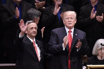 Baptist Pastor Robert Jeffress and Donald Trump at the Kennedy Center in Washington, July 1, 2017.