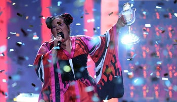 Israeli singer Netta Barzilai performing with the trophy after winning the Eurovision Song Contest on May 12, 2018.