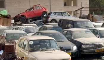 A garage in Jerusalem where stolen cars are parked.