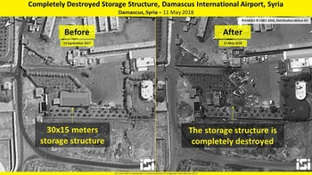 A destroyed Iranian weapons storage structure- before and after the Israeli strike.
