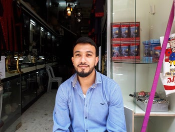 Sief Addeen Aroub, a 24-year-old shopkeeper in the Old City, East Jerusalem, May 14, 2018.