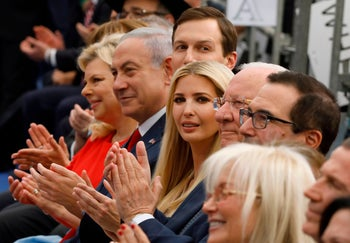 Israeli and American officials attend the opening of the U.S. embassy in Jerusalem on May 14, 2018.