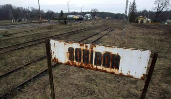 File picture shows the Sobibor train station in Poland December 1, 2009