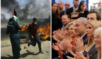 In this photo combination, Palestinians protest near the Israel-Gaza border and U.S. and Israeli dignitaries applaud at the opening ceremony of the U.S. embassy in Jerusalem , May 14, 2018.