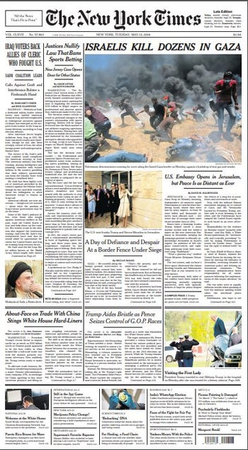 The New York Times front page, May 15, 2018