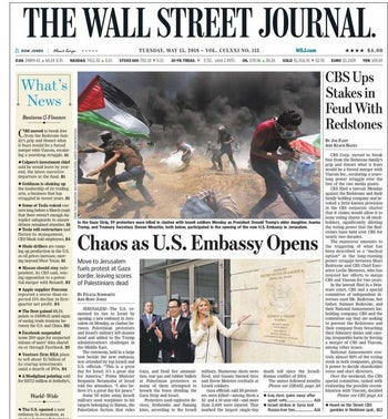 Wall Street Journal front page, May 15, 2018