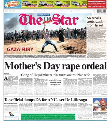 The Star front page, May 15, 2018