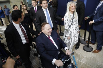 Sheldon Adelson and his wife Miriam arriving ahead of the inauguration of the U.S. Embassy in Jerusalem, May 14, 2018.