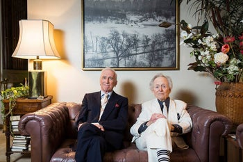 Gay Talese, left, with Tom Wolfe in the living room of the former's apartment in New York, 2017.
