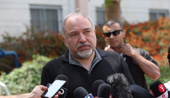 Avigdor Lieberman near the Israel-Gaza border on May 16, 2018.